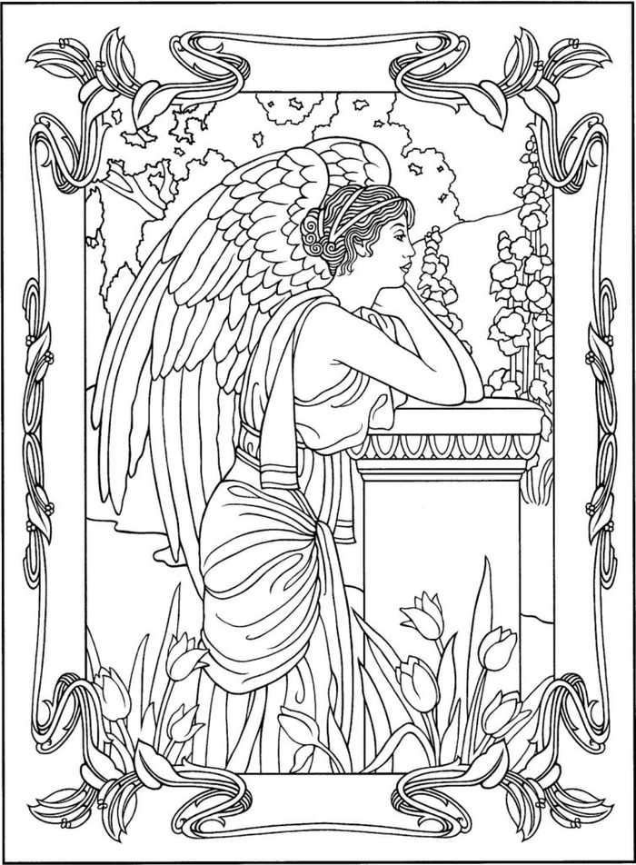 Printable Angel Coloring Page Gambar Pergamano