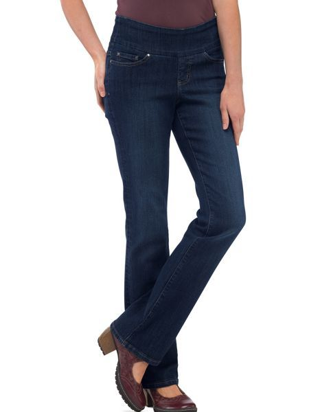 Sexy Pull-On Jeans?! Yes, really! No frump, no bump. Jag Pull-On Boot-Cut Jeans have all the style of button/zip jeans.