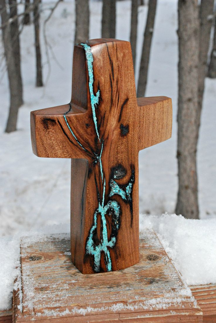 "10"" high x 6"" wide mesquite Standing Cross with Turquoise Inlay by BlackFacedSheep on Etsy"