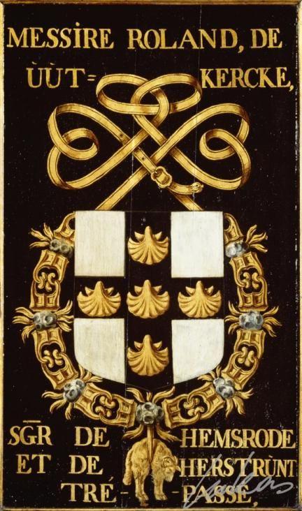 """(5) Roland de UUTKERCKE (†1442) -- """"Messire Roland de Uutkercke, sgr de Hemsrode et de Hersrunt. Trépassé"""" -- Armorial plate from the Order of the Golden Fleece, painted by Pierre Coustain, 1445, Saint Bavo Cathedral, Gent -- Panneau de trépassé."""
