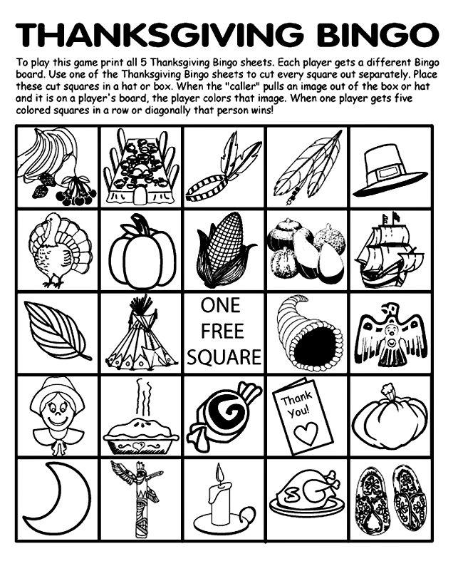 Thanksgiving Bingo Board No.2   crayola.com