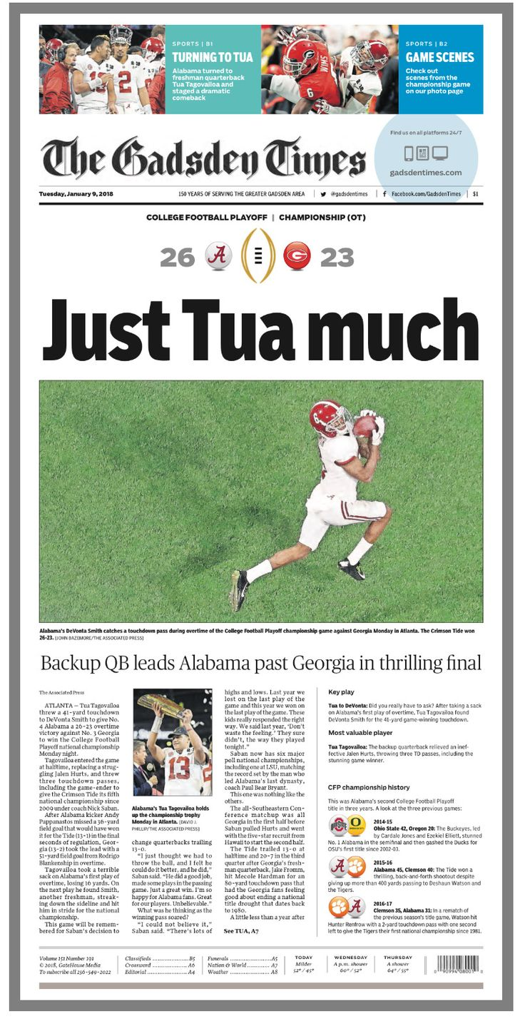 Front page of The Gadsden Times, following Bama's 26-23 OT win in the College Football Playoff National Championship