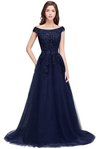 e4bf36acfc Description  MisShow Women Lace Appliques Cap Sleeve A Line Long Evening  Prom Gown Fabric Type  Tulle Color  Burgundy Royal Blue Black Navy  Blue Silver ...