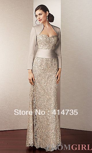 Beaded champagne Young Mother of the Bride Dresses  With Jacket Shops Prom Eveing Dresses Long Style $157.00