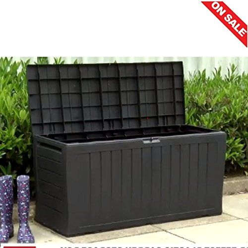 Outside Storage Box Plastic Large Garden Cube Outdoor External Lockable Square Garage Bike Utility Heavy Duty Rattan Furniture Bench Tool Weatherproof E