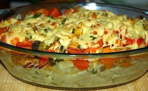 Zapiekanka z makaronem,kurczakiem i warzywami