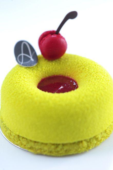 Amarina (Sour Cherry Jelly, Light Pistachio Mousse, Pistachio Financier, Mini Macaroon) | Petite Amanda