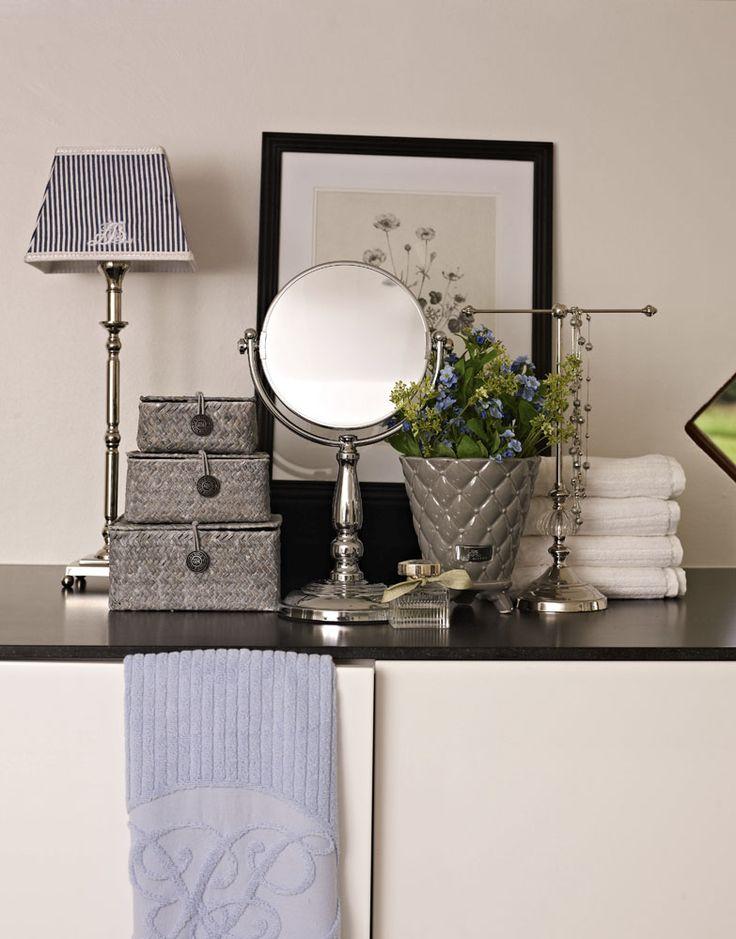 Lene Bjerre - SPRING 2013. ALETTE lamp with MONOGRAM STRIPE shade, ASTRID mirror, KAMILLA basket set and PRECIOUS flower pot.