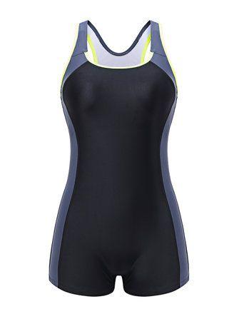 Women Professional Boyshorts One-Pieces Swimsuit Back Hollow Patchwork Tight Swimwear at Banggood