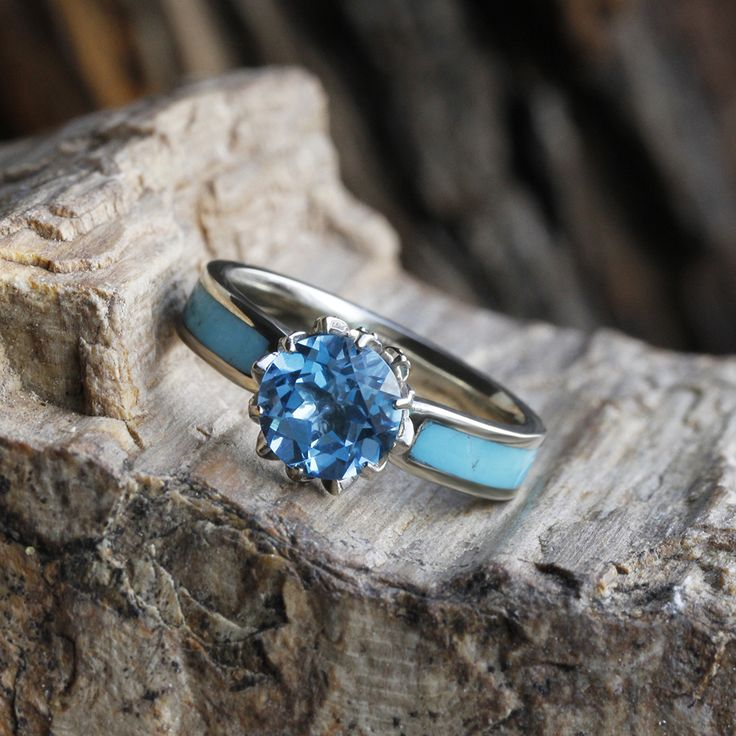 how about this for your something blue a gorgeous topaz and turquoise engagement ring