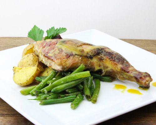 ... chicken, honey mustard glaze, roasted new potatoes, green beans