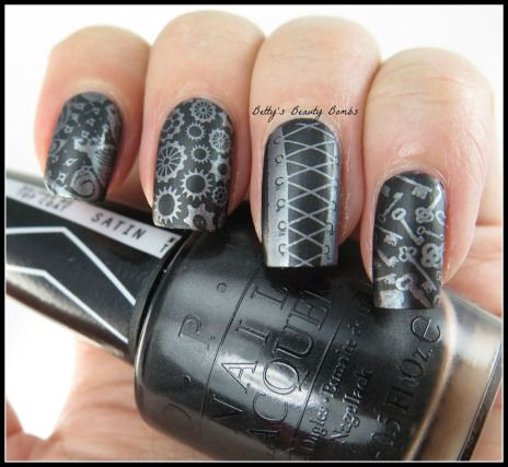http://www.bettysbeautybombs.com/2014/07/05/steampunk-nail-art-goes-topless/ / Steampunk #nailart using #opi and #vividlacquer