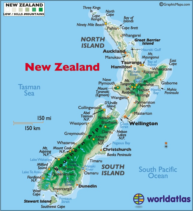New Zealand large color map. The country geographically comprises two main landmasses – that of the North Island, or Te Ika-a-Māui, and the South Island, or Te Waipounamu – and numerous smaller islands. Because of its remoteness, it was one of the last lands to be settled by humans. The capital Wellington and the largest city Auckland.