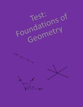 Geometry test covering segment addition postulate, points, lines, and planes, parallel, perpendicular, and skew lines, classifying and angle addition postulate, complimentary and supplementary angles, vertical, adjacent, and linear pair angles, angle bisectors.