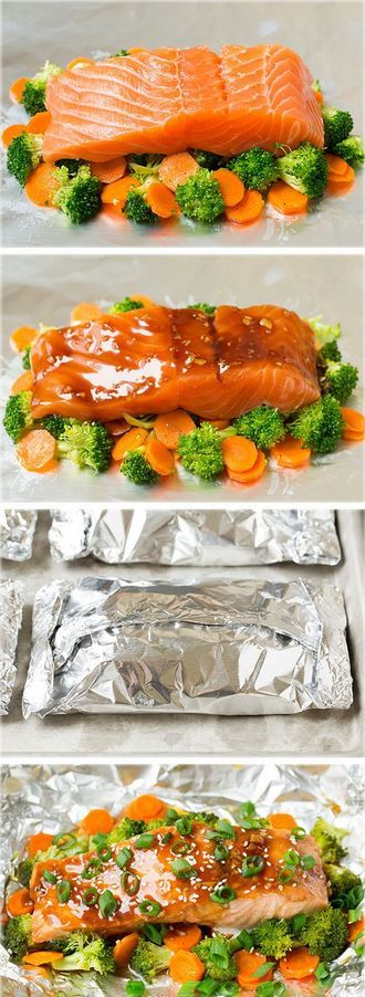 Honey Teriyaki Salmon and Veggies in Foil - you've got to try this salmon, it's so delicious!