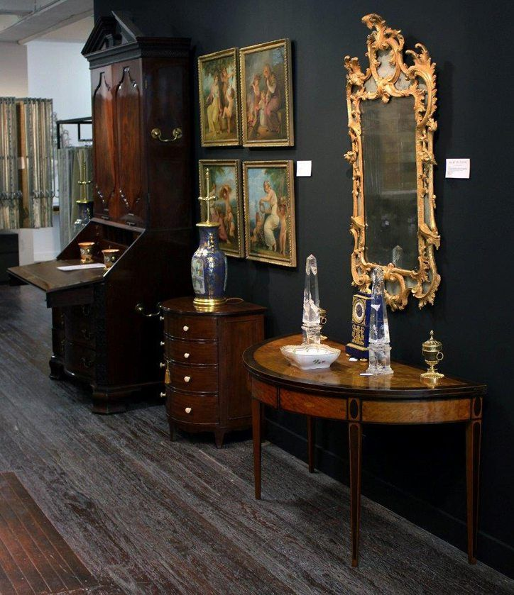 Rock Crystal Obelisks on a Demi-Lune Table: Martyn Cook Antiques at Rushcutters Bay, Sydney, Australia