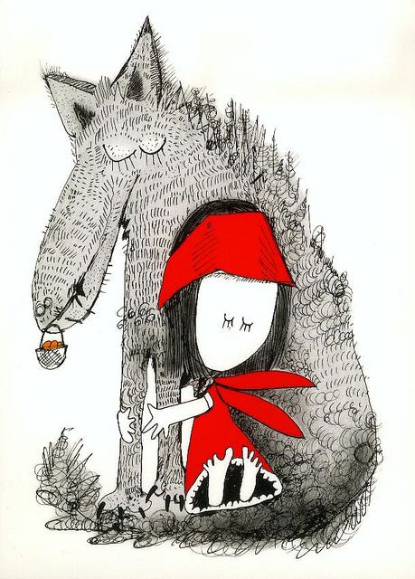 Little red riding hood by Andrzej Tylkowski, Poland by CardWishTree, Roodkapje love it!