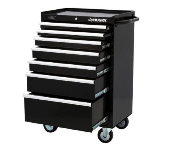 Husky 27 in 7 Drawer Tool Chest Cabinet Set Box Storage Rolling Garage Organizer #Husky