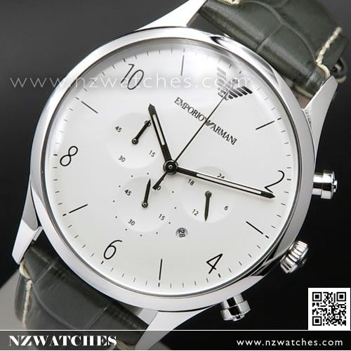 Emporio Armani Chronograph Leather Strap Mens Watch AR1861
