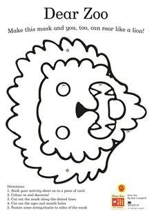 Dear Zoo mak a mask activity sheet