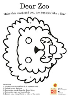Dear Zoo mak a mask activity sheet
