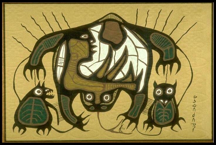 Frog Medicine Spirit, Owl Land Medicine Spirit gives Humans Curative Powers (1964) Norval Morrisseau
