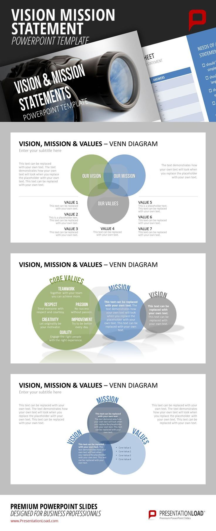 best ideas about mission statements creating a make use of our colorful venn diagrams to illustrate the connection between your company s core values mission
