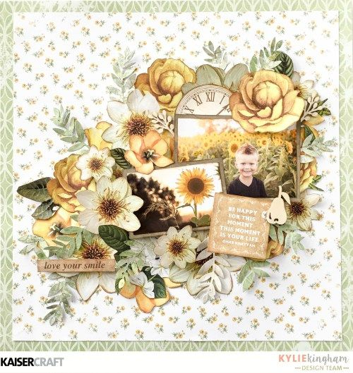 July Blog Challenge: 'Be Happy' Layout by Kylie Kingham Design Team member for Kaisercraft Official Blog using the July 2017 'Golden Grove' collection. Learn more at kaisercraft.com.au/blog - Wendy Schultz - Inspiring Creations.