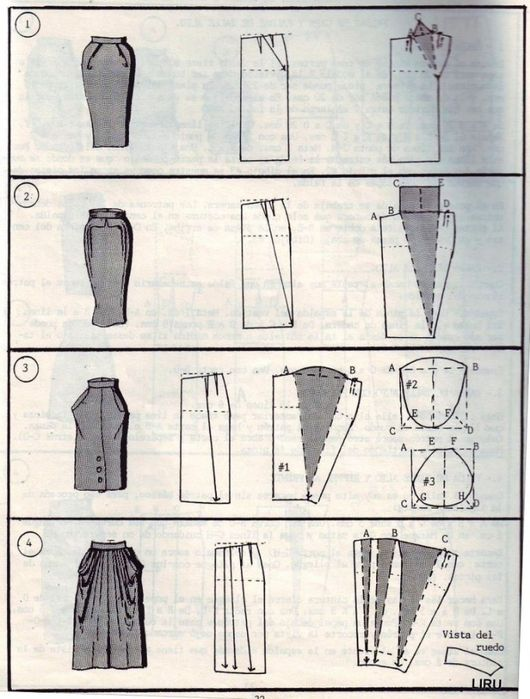 lots of diagrams for skirt patterns