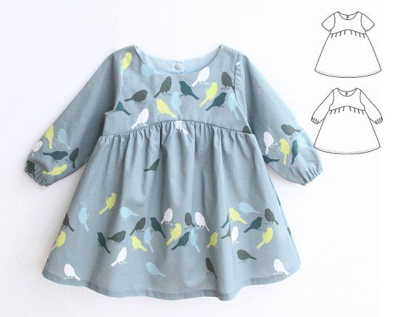 BLUE TIT Girl Baby Girl Dress pattern Pdf sewing, Woven Dress, Short and Long Sleeve, Toddler dress, newborn dress 0 - 10 years 11