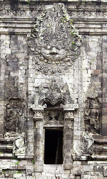 A giant Kala head on top of the door while the Makara projected on the side of the portal on south wall of Kalasan buddhist temple, display the aesthetics of ancient Java art. Kala-Makara is typical style of Hindu-Buddhist temple portals in Central Java circa 8th to 9th century.