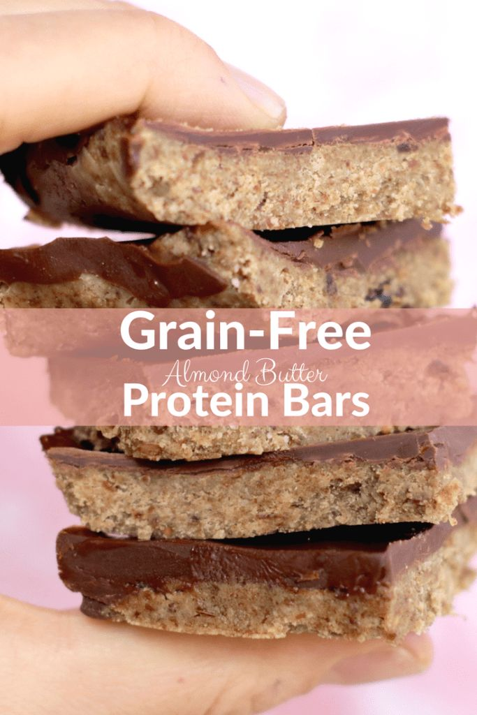 Grain-Free Chocolate Almond Butter Protein Bars #proteinbars #vegan #glutenfree #grainfree #plantbased