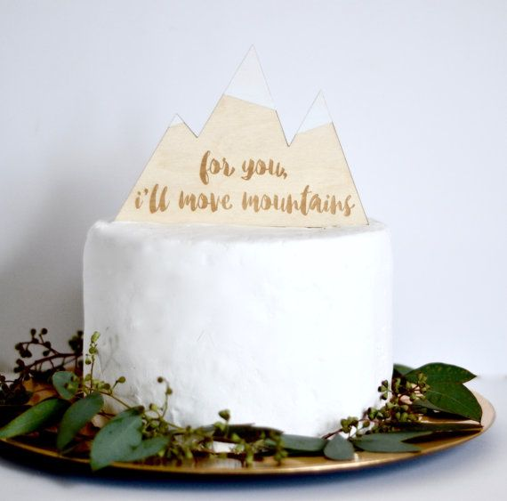 Mountain Cake Topper. Rustic Wedding by FancyFaceStudio on Etsy