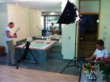 Simon & Dave setting up the shots in a Luxury ESPA spa