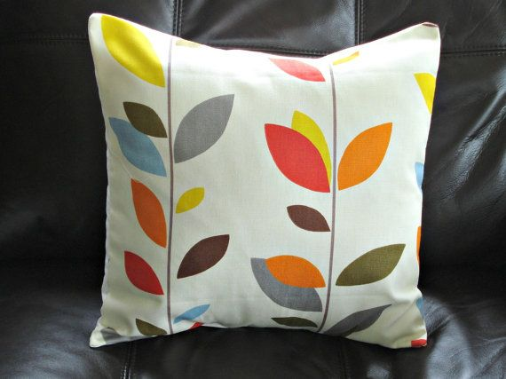 Pillow orange blue olive red yellow grey gray brown 16 by VeeDubz, $20.00