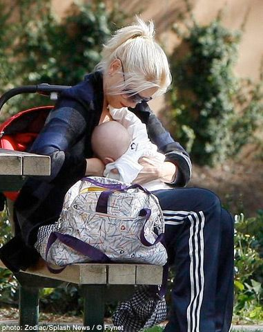 GWEN STEFANI -   Stefani credited breastfeeding with helping her lose the baby weight while on tour for The Sweet Escape album in 2007. Perhaps to provide evidence, the rock star and fashion designer was snapped in a park in November 2008 proving her case.