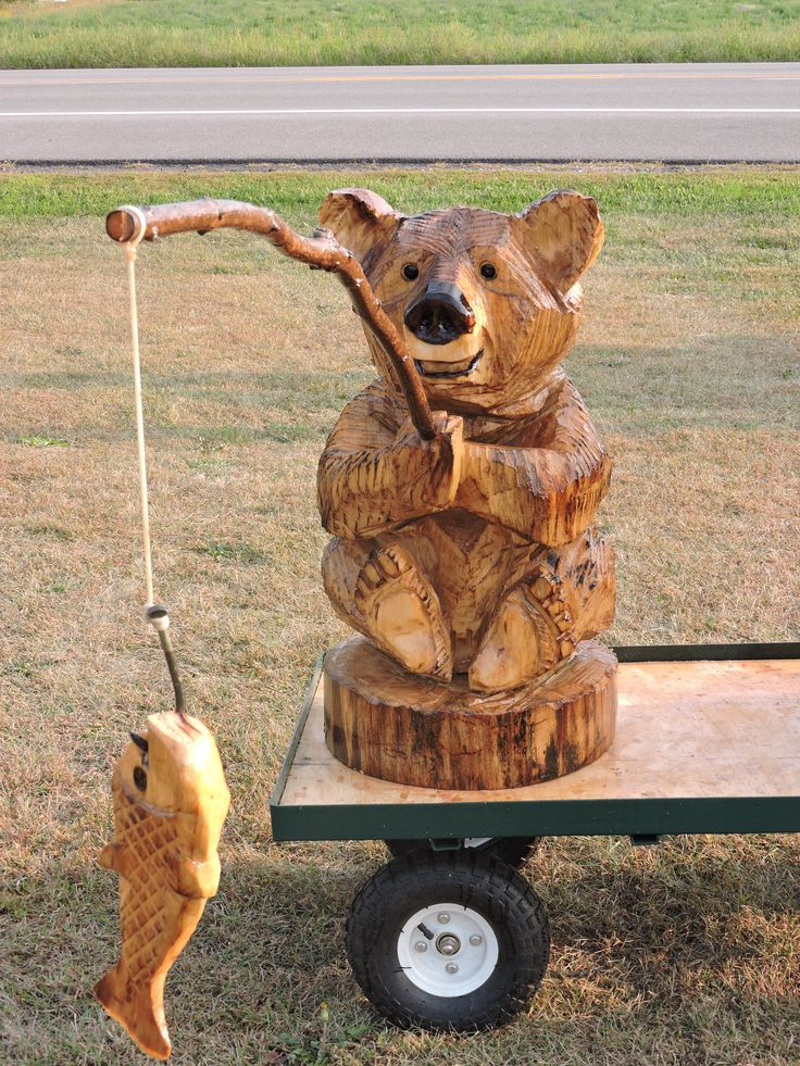 Fish Bear Fishing Bear Chainsaw Carving Lawn