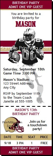 49ers Football Birthday Party Ticket Invitations from Print Villa...personalized just for you!