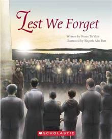 """""""Lest we forget"""",  written by Feana Tuʻakoi ; illustrated by Elspeth Alix Batt - There was no wayTyson  was going to the Dawn Parade with Mum and Poppa tomorrow. Why celebrate something so terrible? But after listening to the stories about the soldiers in his family Tyson feels differently and goes to the parade"""