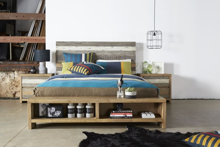 Crusoe Bed Suite: Acacia timber that's been uniquely aged to embody a recycled look with a modern feel. The rustic style headboards are full of tone and charisma that blend perfectly with the smooth modern base. Available with matching tallboy and bedside table.
