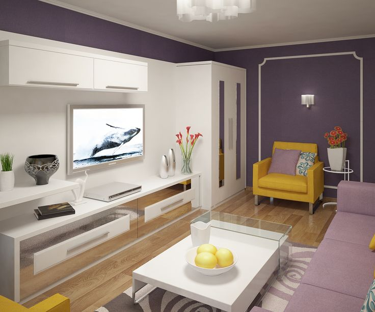 Гостиная комната в квартире стандартной планировки в 9 эт. доме. Зачастую проектируя интерье...