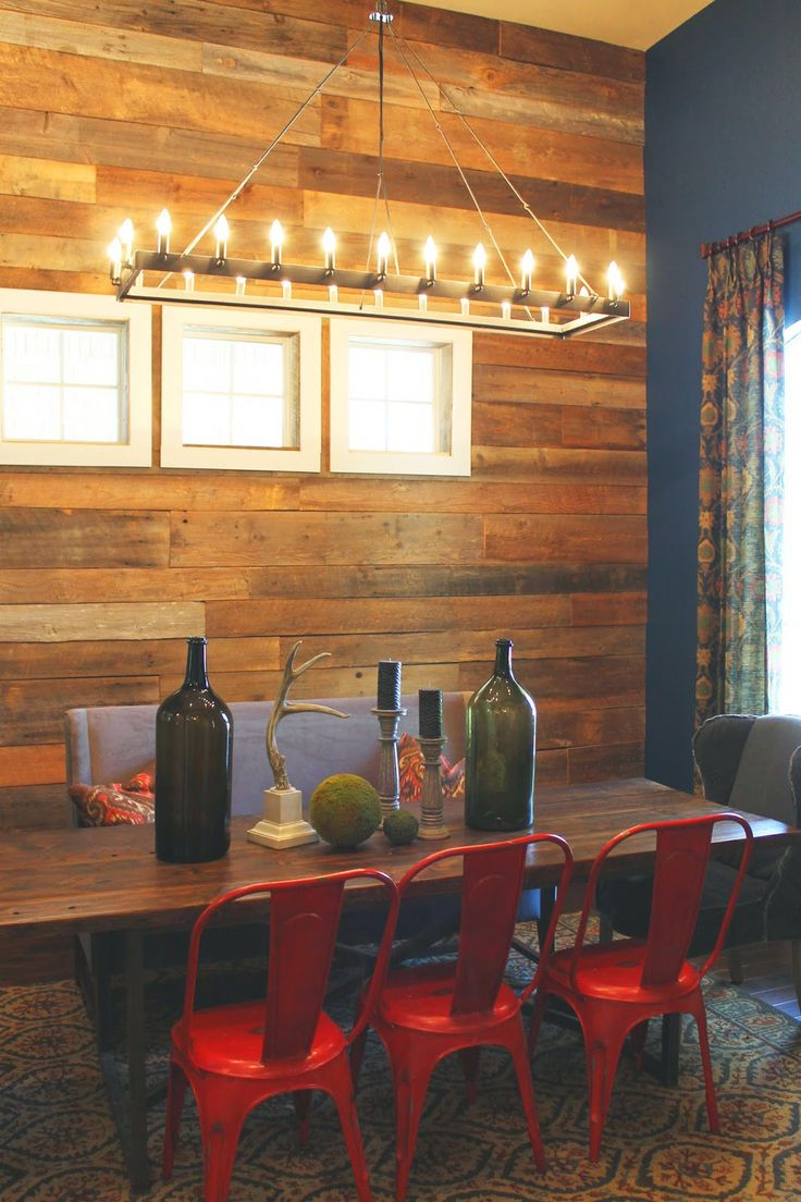 Wood Feature Walls Dining Room Wall Covered With Salvaged And Paired A Deep Blue Color Farmhouse Style Red Tub Chairs Table