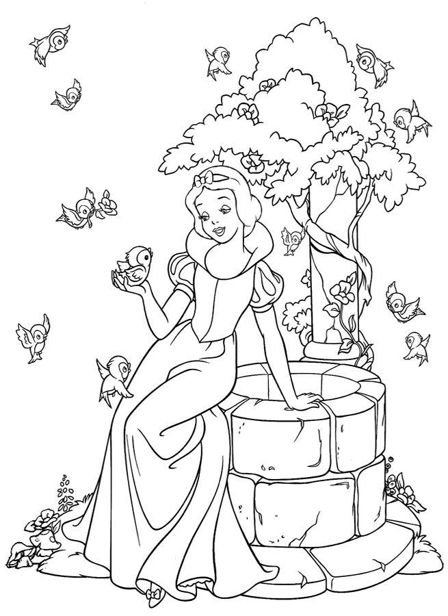 Зачарованный мир: Белоснежка и семь гномов - раскраски с персонажами мультфильма