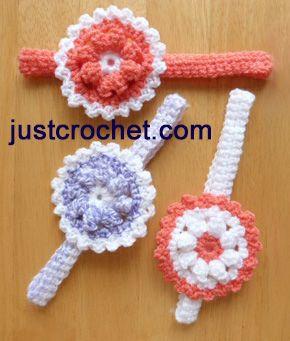 Free baby crochet pattern headband with flower usa ~ love the bottom right one ~ FREE - CROCHET