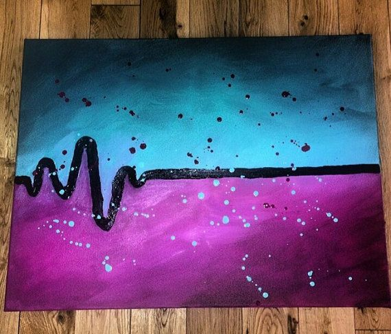 Heart Skips a Beat  Acrylic Canvas Painting by SCRCreations, $50.00
