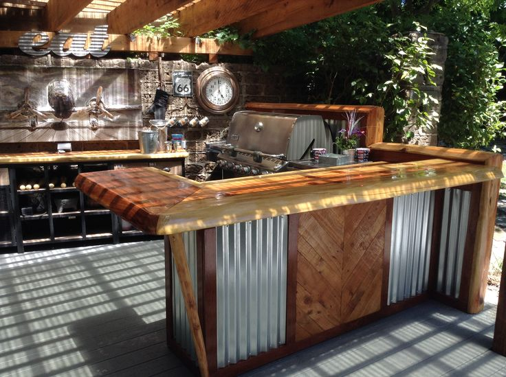 Rustic outdoor kitchen and bar. | Bbq | Pinterest | Rustic ...
