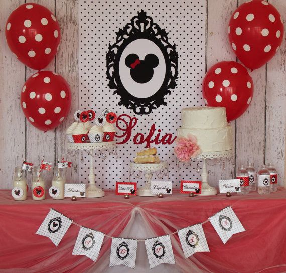 Hey, I found this really awesome Etsy listing at http://www.etsy.com/listing/113490761/shabby-chic-red-white-and-black-minnie