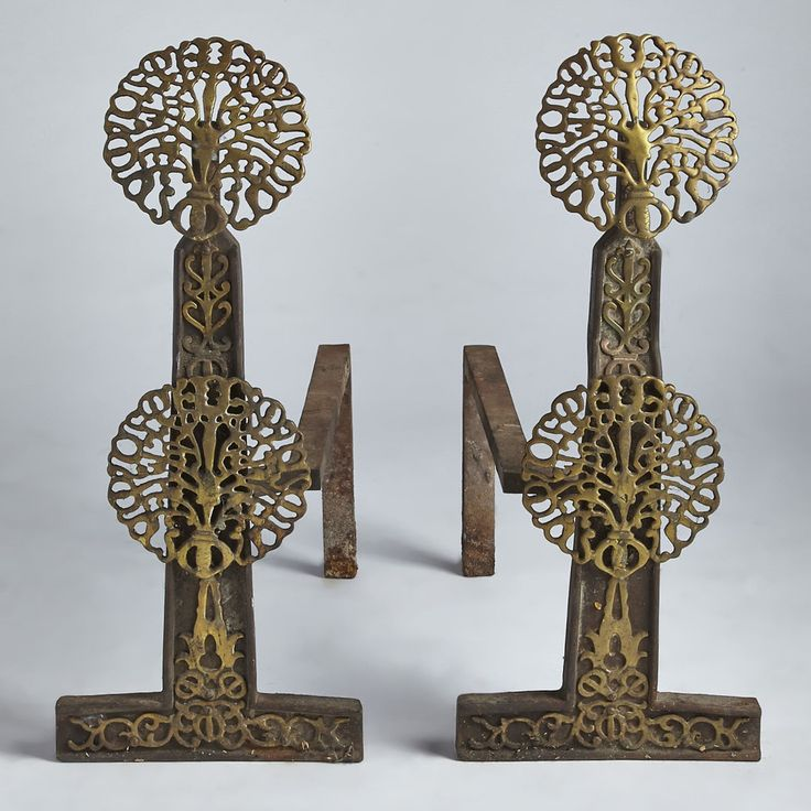 Elaborate Victorian brass and cast iron andirons. Dutch in form, 17th century style