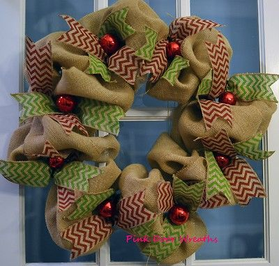 Wreath CHRISTMAS burlap CHEVRON green red ornaments ribbon