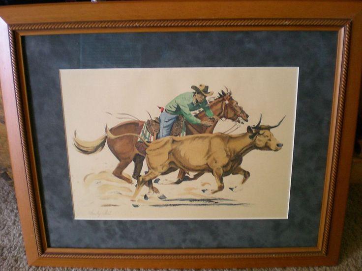 "CHARLEY PARIS ~  ""BULLDOGGER""  ~ SIGNED HAND-COLORED ORIGINAL ~ COWBOY ART ~ #2 #Western"
